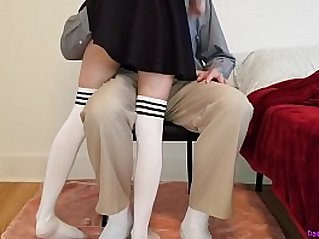 Little schoolgirl learns a deep lesson while getting tutored at home